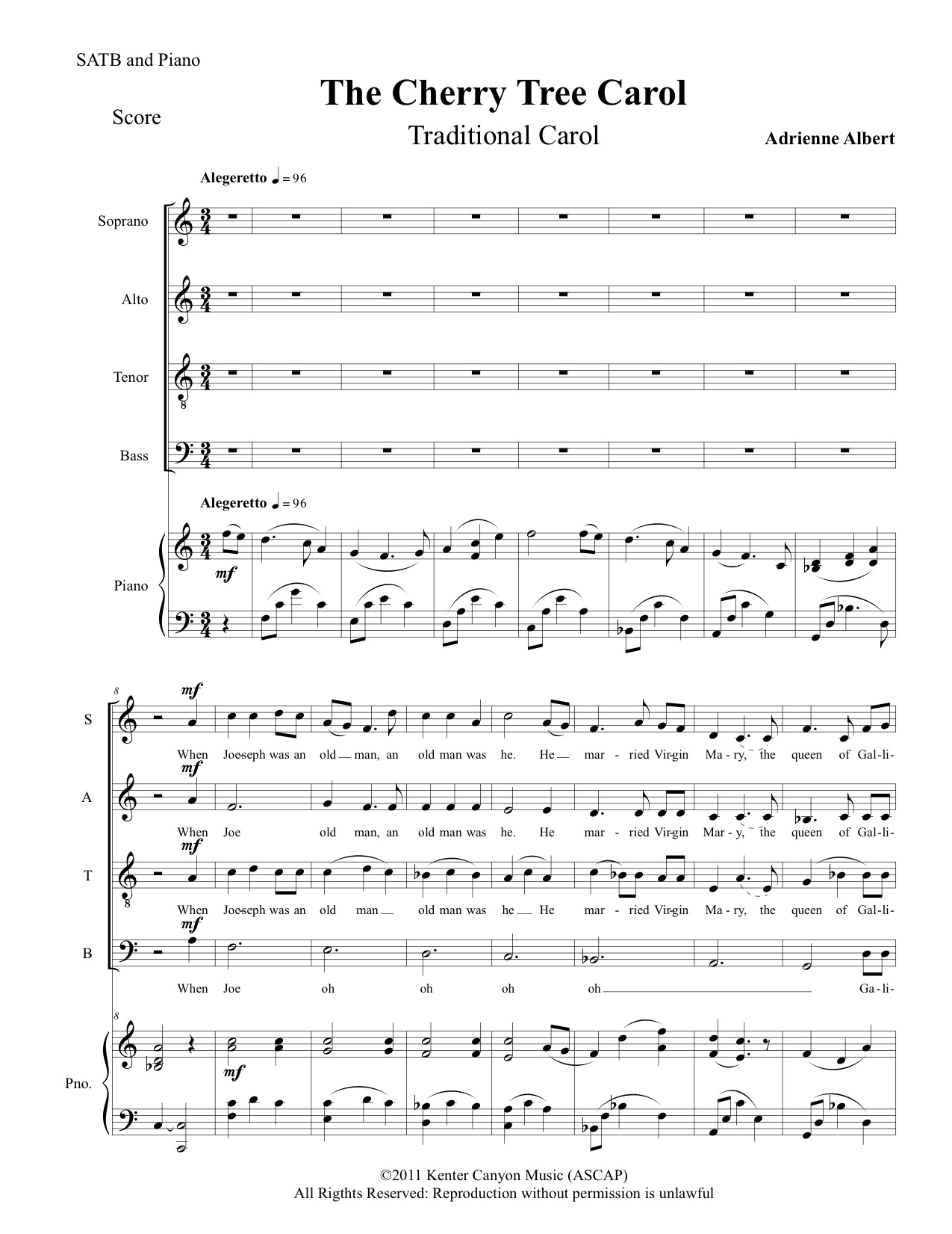 The Cherry Tree Carol for SATB