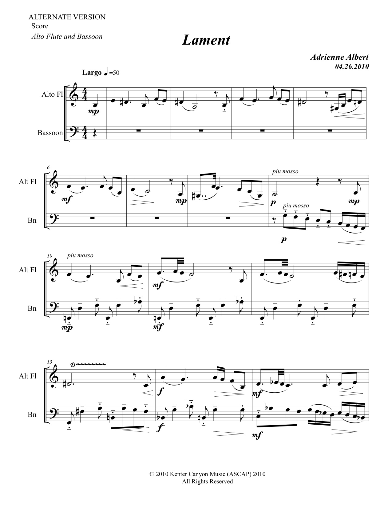 Lament for Alto Flute and Bassoon